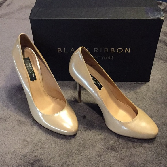 Like New LK Bennett Black Ribbon Amy Nude Heel 41*